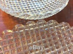 Dorflinger American Brilliant Cut Glass Strawberry & Diamond set 8 Desert Plates