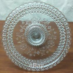 EAPG Adams 140 US Glass WILDFLOWER Clear Pattern High Standard Plate CAKE STAND