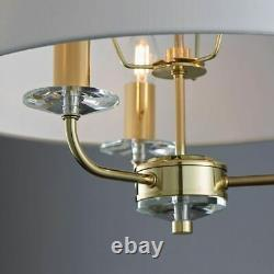 ENDON Nixon 40W E14 3lt Pendant Light Brass Plate Vintage White Fabric 70560