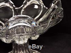 Eapg 2pc c1850 open compote & plate, clear flint glass, petal & loop, Boston, 9