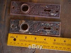 Eastlake Antique Clear Glass Door Knobs Ornate Brass Back Plates rusty Salvage