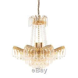 Endon Adagio chandelier 9x 40W Clear faceted glass beads & gold effect plate