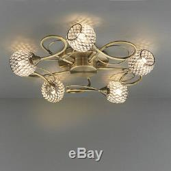 Endon Aherne 5 Lights Flush Fitting Clear Glass / Antique Brass Plate 73757