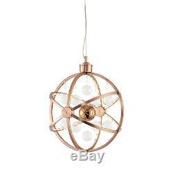 Endon Muni 390mm pendant 7.5W copper plate with clear & copper balls
