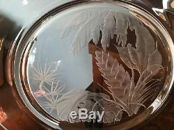 Engraved Steuben Glass Tropical Foliage leaves 10 Plate