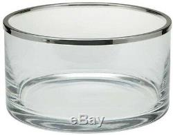 Ercuis Cerclee Straight Glass Bowl with Silver Plate Rim, 7 Inch Diameter