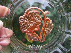 European Carnival Glass. Unusual Zabkowice Golden Pansy And Leaves Plate. VGC