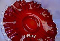 FENTON GLASSMINT+PERFVINTAGEc1930sXSRCEREDRUBY SILVER CREST3n110PLATE