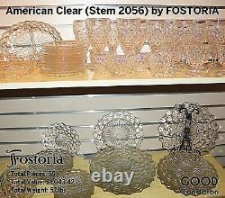 FOSTORIA American Clear Stem 2056 Cube Crystal Sandwich & Dinner Plates & glass