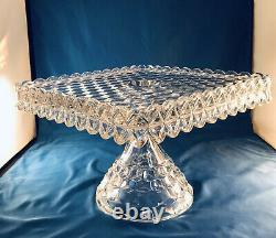 FOSTORIA American Glass Square Pedestal Footed Cake Plate Stand Rum Well Vintage