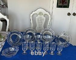 FOSTORIA NAVARRE -Etched Juice, Champagne Glasses, Plates & dish- Set 14 Pc