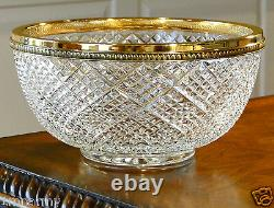 Faberge Waffle Centerpiece Bowl, Clear Crystal, 24k Gold Plated Bronze Rim