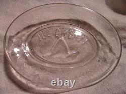 Federal Class Co 1880's Eapg Childs Toy Glass Abc Ice Cream Platter & 4 Plates