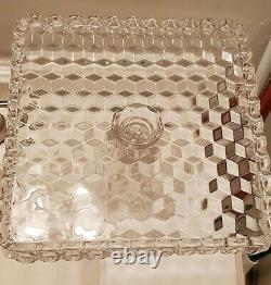 Fostoria American Clear Square Cake Pedestal Plate Stand SALVER 10 with Rum Well