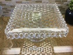 Fostoria American Square Cake Plate Rum Well