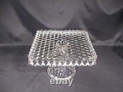 Fostoria American Square Cake Plate with Rum Well