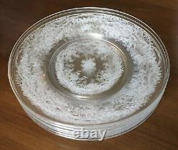 Fostoria Romance Etched Pattern Clear 6 Dinner Plates 9 1/2