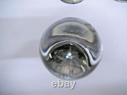 Four Antique Clear Glass Door Knobs With Nickel Plated Brass Mounts