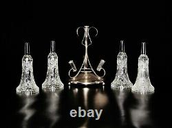 Four Trumpeting Shaped Clear Glass And Silver plate centerpiece Base. 12 1/4 H