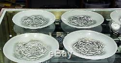 Frosted Embossed Roses Clear Glass Round Plates Set of 12