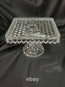 GORGEOUS AMERICAN FOSTORIA GLASS SQUARE PEDESTAL CAKE PLATE STAND with RUM WELL