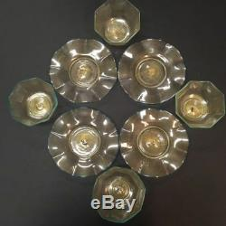 Galliano FERRO Venetian Glass Dessert Bowls with Plates Murano ITALY Set of 4