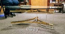 Glass 47.5'' Round Coffee Table Gold Plated Triangle Frame Clear Acrylic Legs
