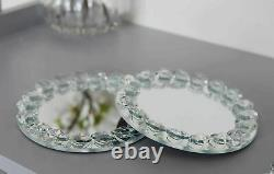 Glass Crystal 10 cm Gem Diamond Round Mirror Glass Silver Candle Plate Tray