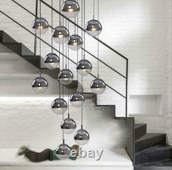Glass Globe Chandelier Staircase Fixture Ceiling Light LED Plated Pendant Lamp