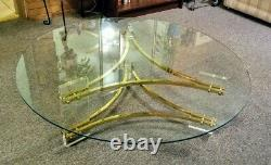 Glass Top Round Coffee Table Gold Plated Triangle Frame Clear Acrylic Legs EUC