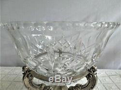 Godinger Museum Re-creations Shannon Crystal Centerpiece Bowl Silver Plate Stand