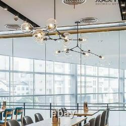 Gold/Black Molecule Glass Chandelier 6-Light Tree Branch Pendant Ceiling Fixture