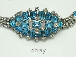 Gorgeous 1950s Aqua and Clear Rhinestone STATEMENT Bracelet Rhodium Plate