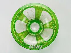 Green w Gold Encrusted Rococo Intaglio Cut to Clear Bowl, Antique St Louis Moser