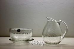 Gunnel Nyman, creamer, sugar bowl, plate, Nuutajarvi Iittala Finland glass