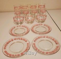 HTF 15 Vintage Pyrex Pink GOOSEBERRY Luncheon/Dessert Set of 4