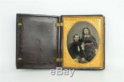 Half Plate Clear Glass Ambrotype Photograph Bearded Man with Young Girl in Case