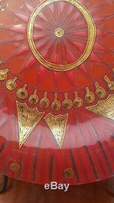 Higgins Studio Art Glass Charger Sunburst Red Gold Mid Century Modern 12 1/2