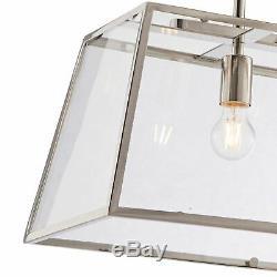 Hurst 3 Lt Ceiling Pendant Light & Bright Nickel Plate & Clear Glass Shade