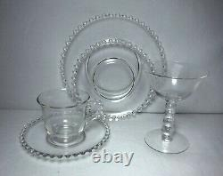 IMPERIAL crystal CANDLEWICK 81-piece PARTY or DESSERT Set plates trays champagne