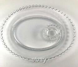 Imperial Glass CANDLEWICK PATTERN Oval Sushi Snack Plate Salt Sauce Cellar GUC