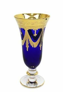 Interglass Italy Set of 2 Crystal Blue Champagne Glasses, 24K Gold-Plated Flutes