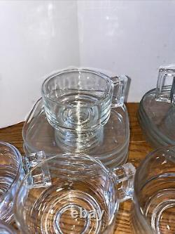 Italy Mid-Century MCM Joe Colombo Arno Clear Cups Plates Saucers Set 20 pieces