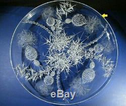JOSEF SVARC XL Thistle Plate Charger CZECH BOHEMIAN CRYSTAL GLASS Scotland Sig2x
