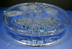 JOSEF SVARC XL Thistle Tray Plate CZECH BOHEMIAN CRYSTAL GLASS Scotland Signed