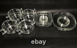 Joe Colombo 1960's Italian Arno Glass Bowls & Cup Saucer Salad Plate Set 4 Vtg