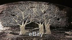 Kosta Boda Vintage Crystal Art Glass Plate Tray Platter Forest Holiday Gift BIG