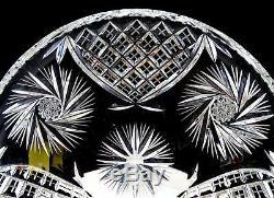Kusak Bohemian Czech Cut Crystal Berlin Pinwheel 10 7/8 Serving Plate