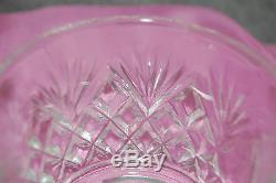 LE Smith Glass Pineapple Fan Punch Bowl Set Silver Plate Ladle 18 Cups M3934