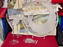 LENOX WINDSWEPT Clear Glass Etched SWIRL Tray / Plate / 4 Etched Wine Glasses